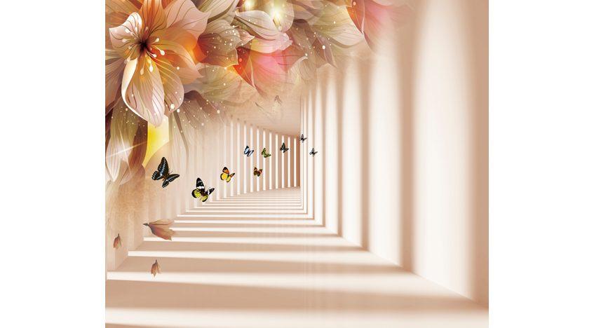 Фотообои 3D Туннель с бабочками