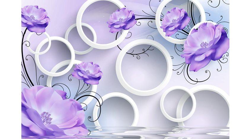 Фотообои 3D Сиреневые цветы с кругами