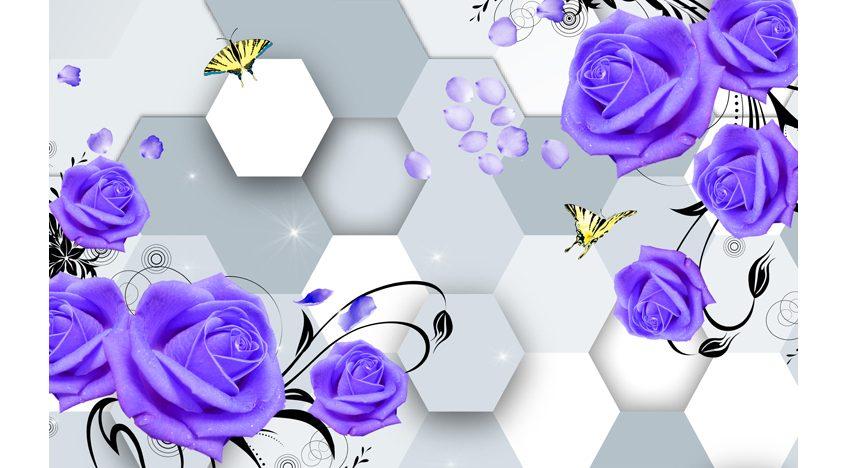 Фотообои 3D Соты и Фиолетовые Розы
