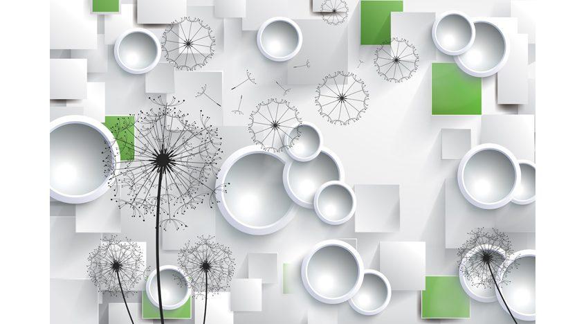 Фотообои 3D Одуванчики, шары и зеленые квадраты