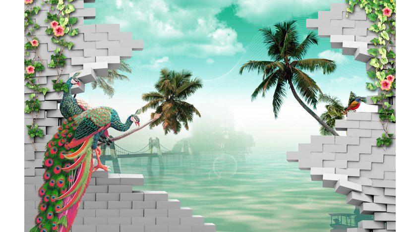 Фотообои 3D Павлины и тропики