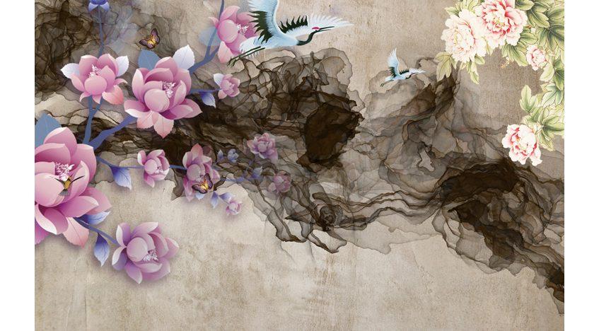 Фотообои 3D Барельеф орхидеи на стене