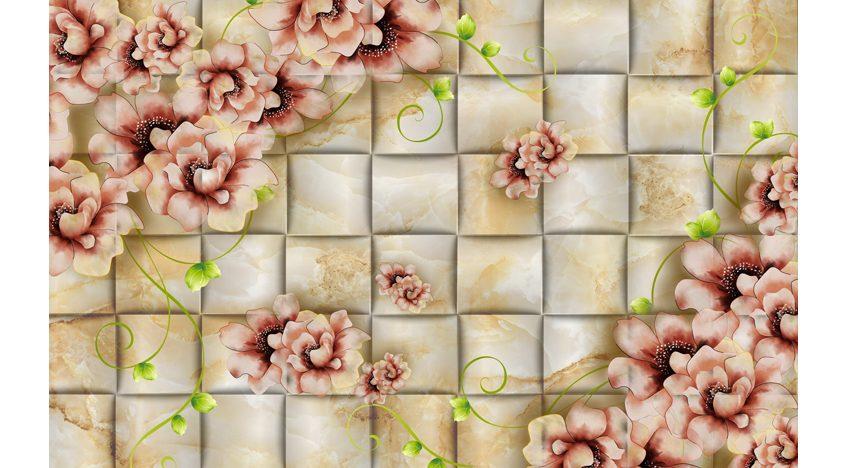 Фотообои 3D Плитка цветы на золотом фоне