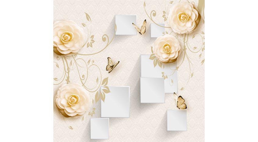 Фотообои 3D Бежевые розы и бабочки