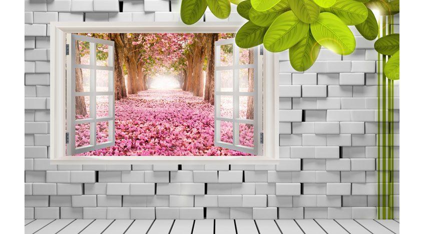 Фотообои 3D Окно в сад