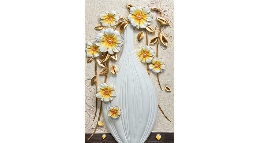 Фотообои 3D Объемная ваза с цветами