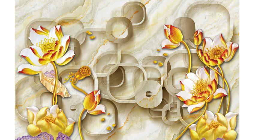 Фотообои 3D Золотые цветы на мраморном фоне