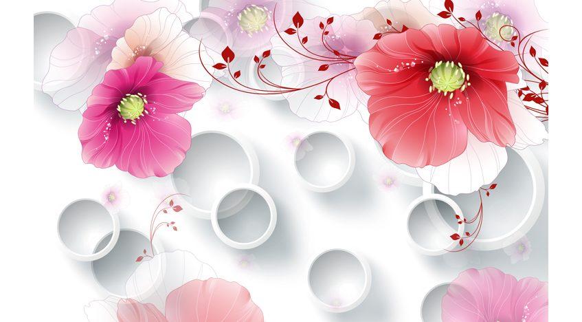 Фотообои 3D Розовые цветы на белом фоне