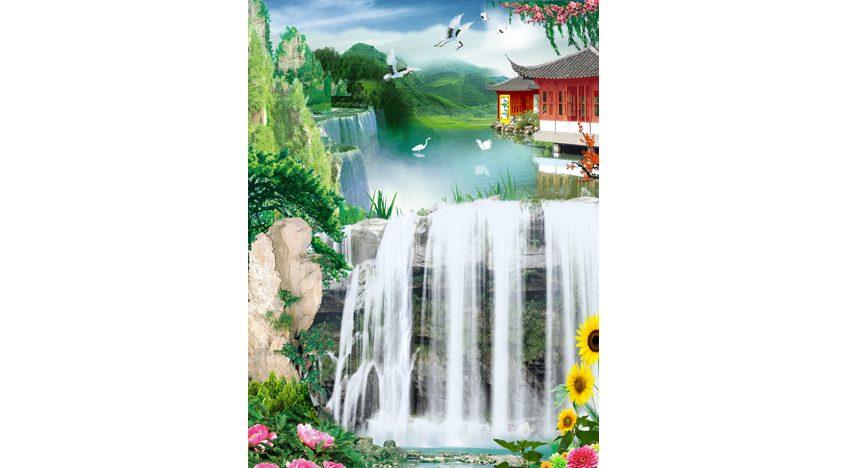 Фотообои 3D Водопад в японском стиле