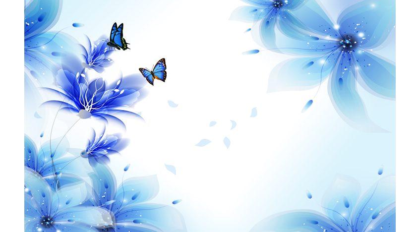 Фотообои 3D Синие цветы и бабочки