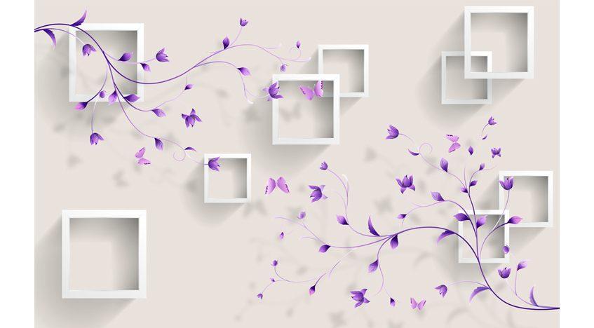 Фотообои 3D Серые квадраты и фиолетовые ветви
