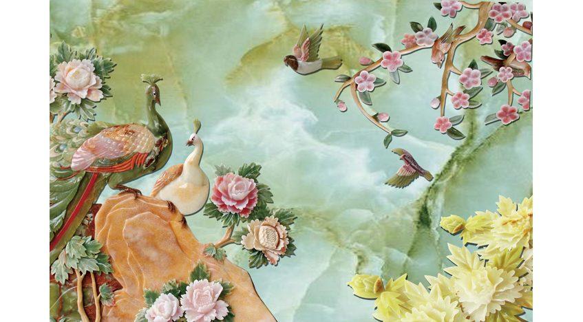 Фотообои 3D Сказочные фениксы и пионы