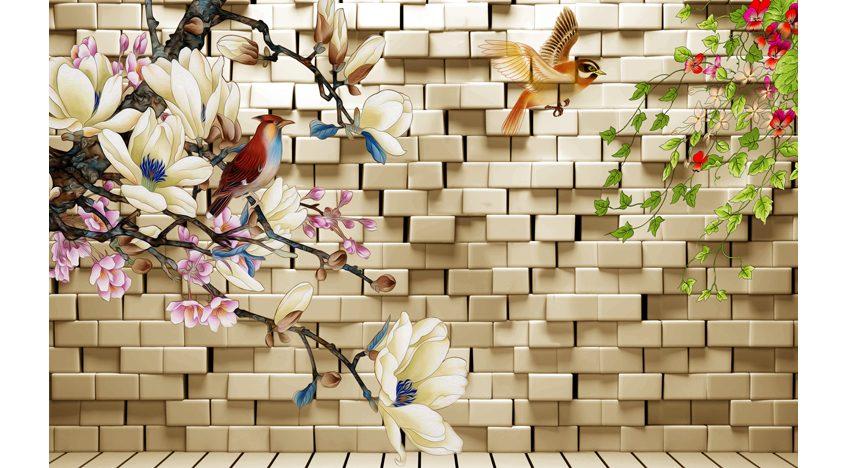 Фотообои 3D Кирпичная стена с цветами