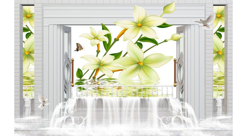 Фотообои 3D Лилии окна водопад