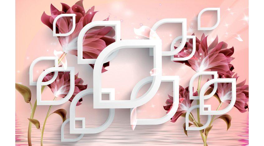Фотообои 3D Розовый фон с белыми элементами и темными цветами