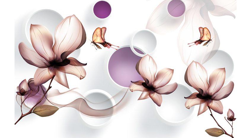 Фотообои 3D Магнолии и бабочки