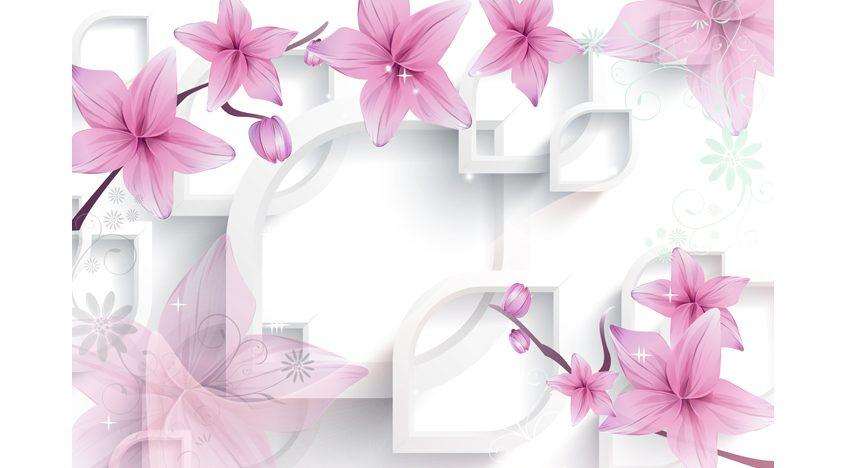 Фотообои 3D Розовые лилии