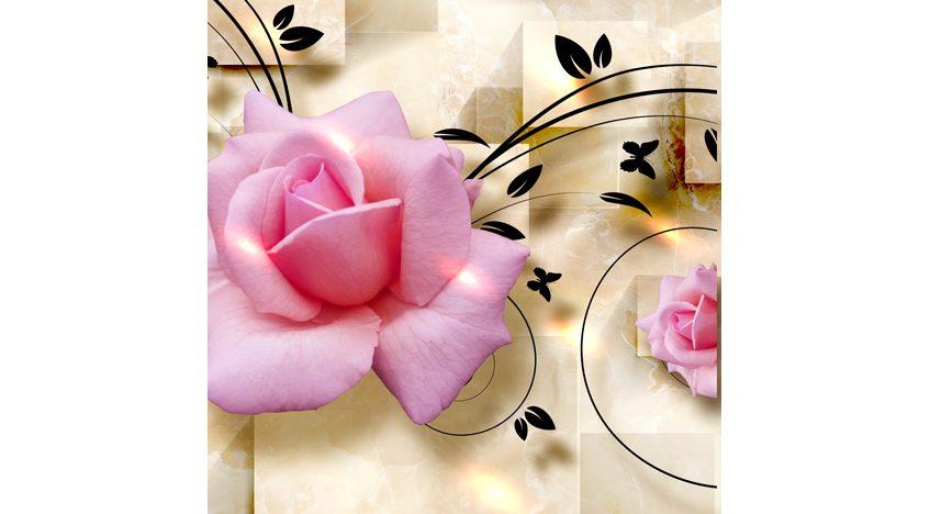 Фотообои 3D Нежные розы на фоне керамики