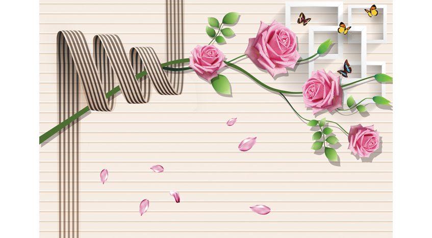 Фотообои 3D Лепестки роз и бабочки