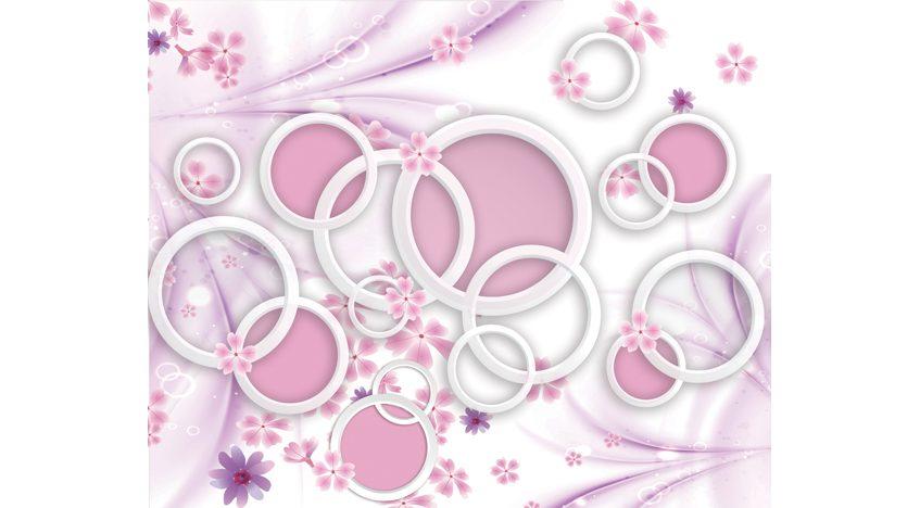 Фотообои 3D Розовый фон с кольцами и цветами