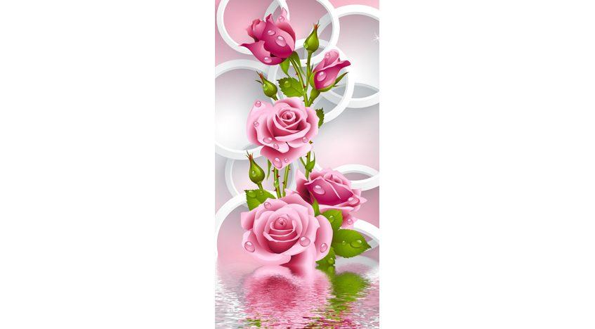 Фотообои 3D Бутоны роз на фоне кругов