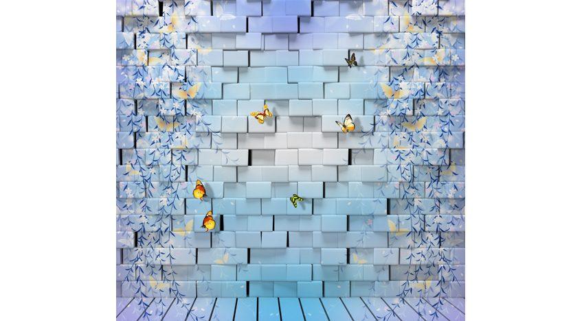 Фотообои 3D Кирпичная стена с бабочками