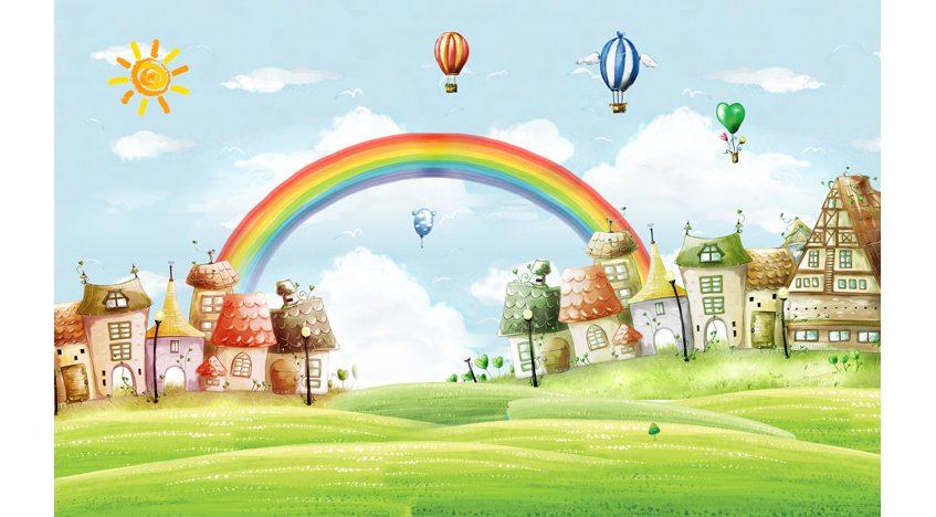 Фотообои 3D Воздушные шары и радуга