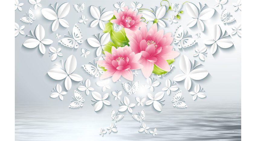 Фотообои 3D Цветы и белые бабочки