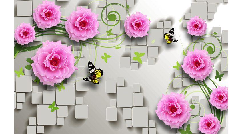 Фотообои 3D Розы и бабочки на фоне квадратов