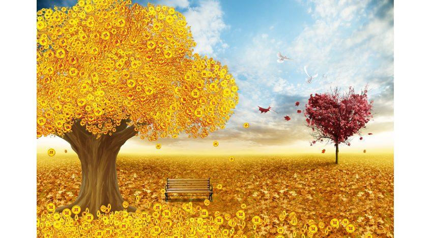 Фотообои 3D Золотое дерево