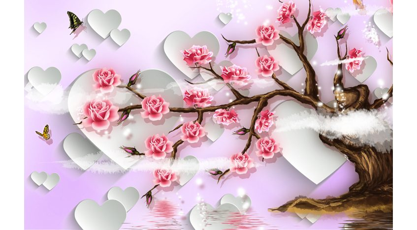 Фотообои 3D Розы и сердца