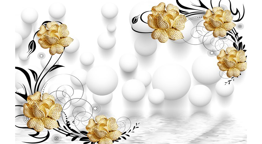 Фотообои 3D Золотые розы и белые шары