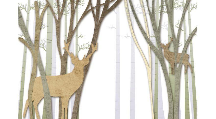 Фотообои 3D Лес и олени