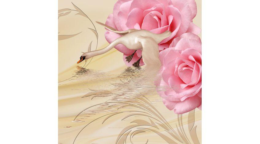 Фотообои 3D Лебедь и розы