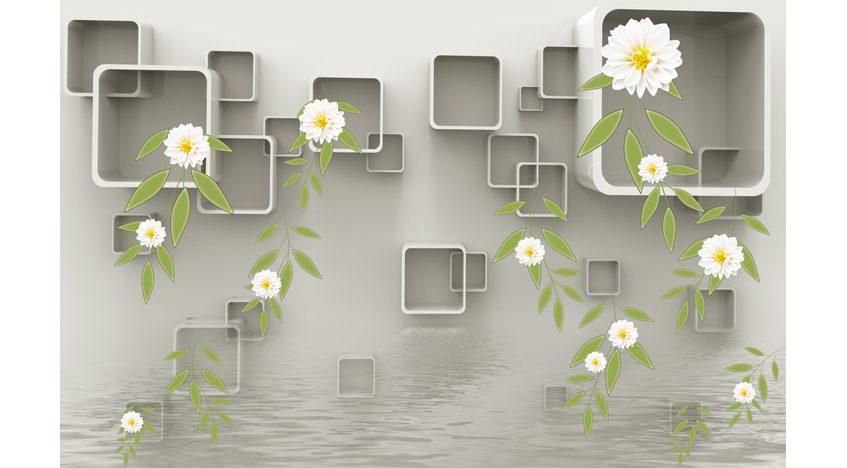 Фотообои 3D Квадраты, цветы и вода