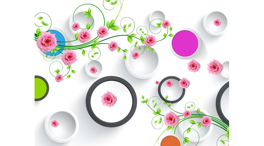 Фотообои 3D Ветви роз и круги