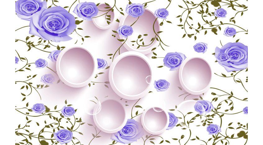 Фотообои 3D Фиолетовые розы и круги