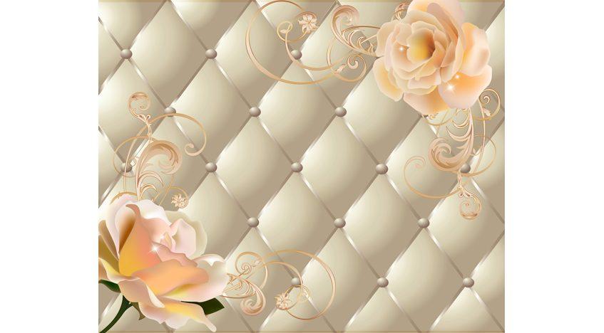 Фотообои 3D Желтые розы на обивке