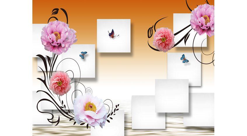 Фотообои 3D Цветы, квадраты и бабочки
