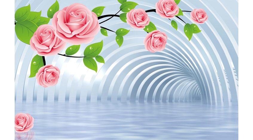 Фотообои 3D Тоннель с розами