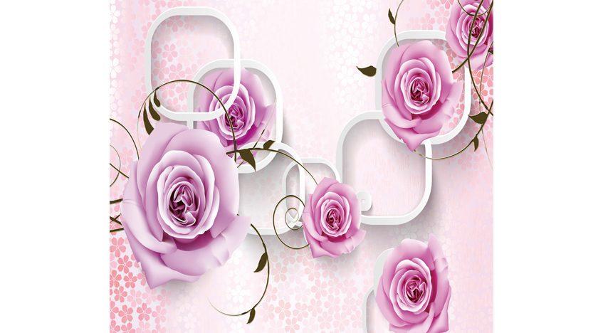 Фотообои 3D Фиолетовые розы на нежном фоне