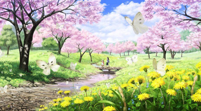 Фотообои 3D Сказочный пейзаж с цветущей сакурой