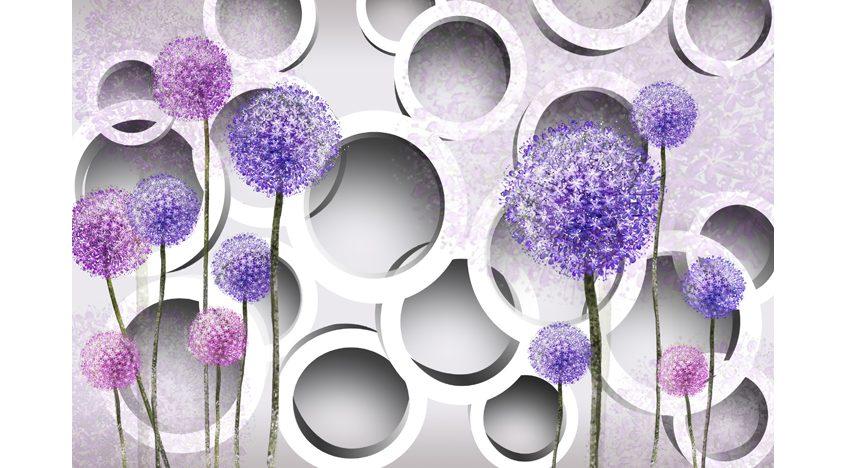 Фотообои 3D Сиреневые одуванчики с кругами
