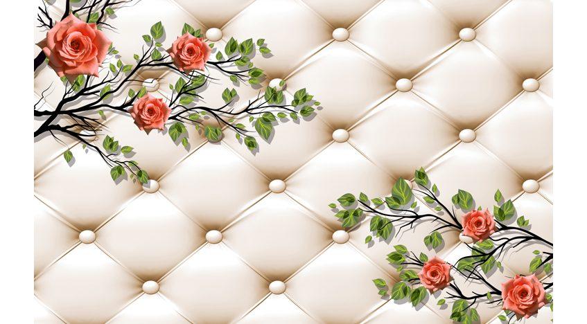 Фотообои 3D Розы на фоне бежевой обивки
