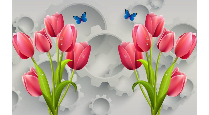 Фотообои 3D Яркие тюльпаны с бабочками