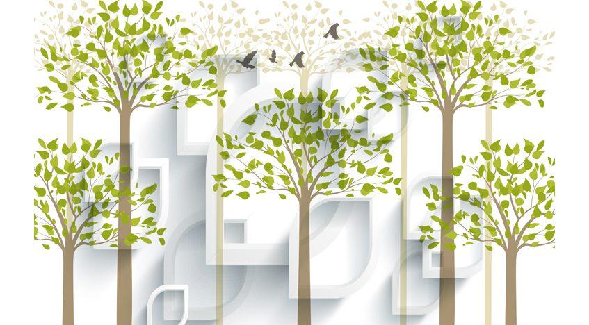Фотообои 3D Зеленые деревья
