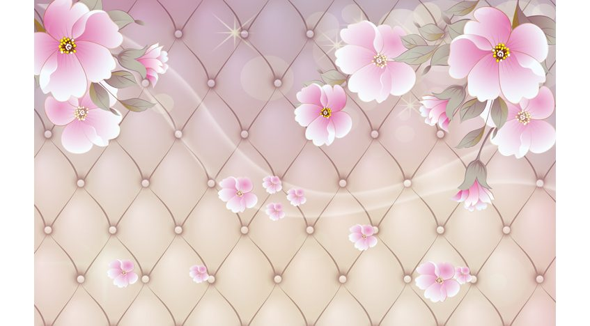 Фотообои 3D Цветы на розовом фоне