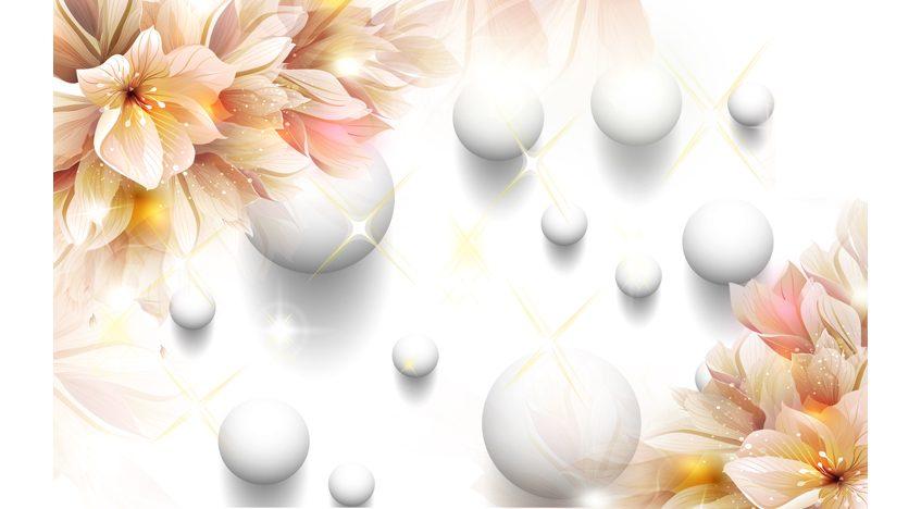 Фотообои 3D Цветы и белые шары