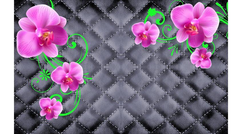 Фотообои 3D Розовые орхидеи на черном фоне