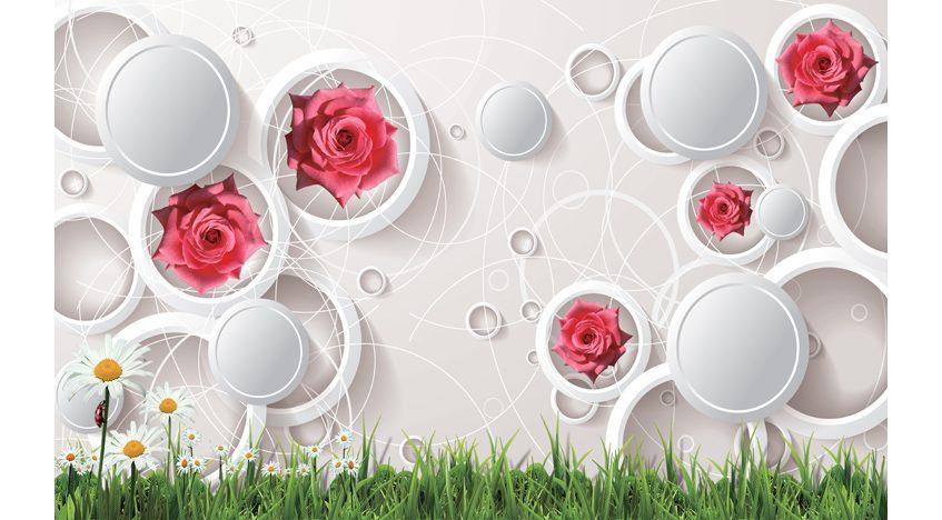 Фотообои 3D Розы с белыми кругами